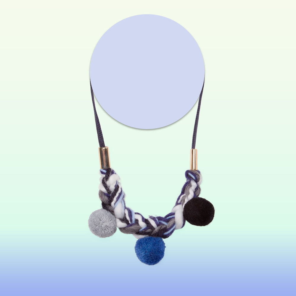 pom pom knit necklace for little girls blue black and grey
