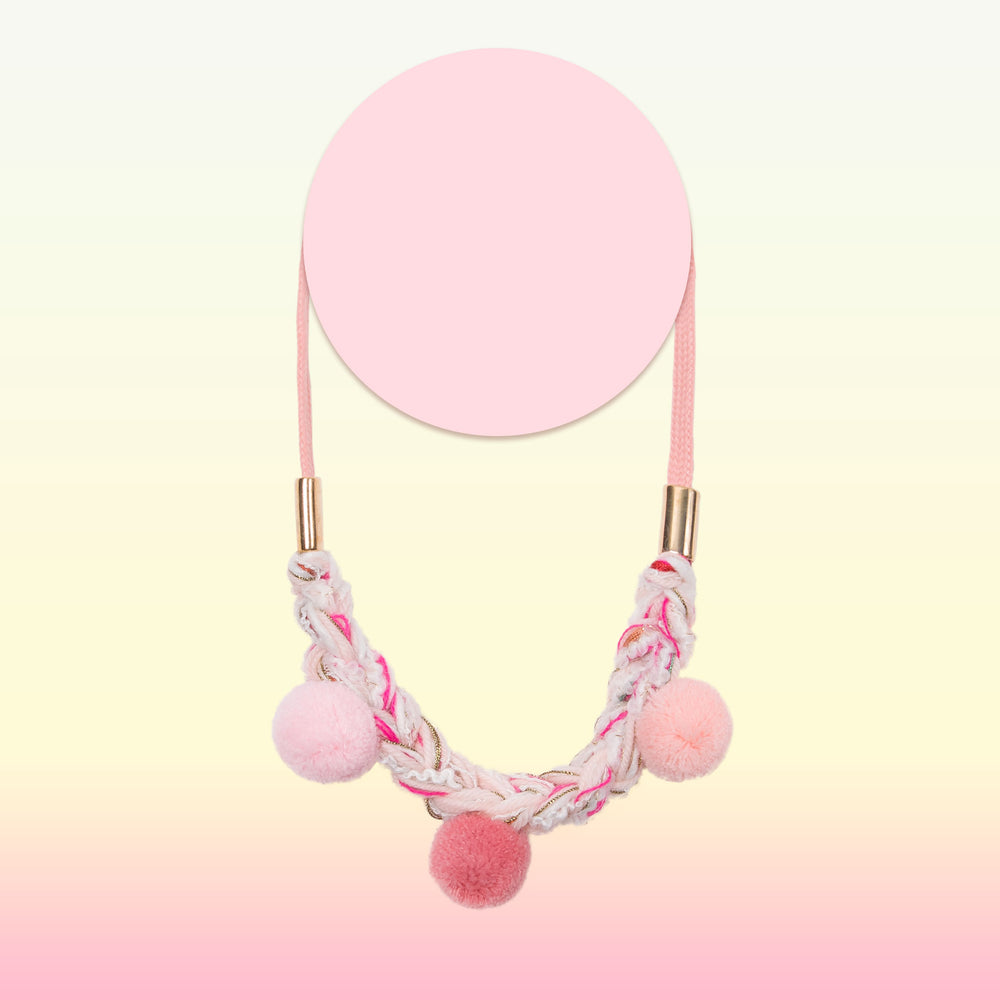 pom pom knit necklace for little girls pink and white