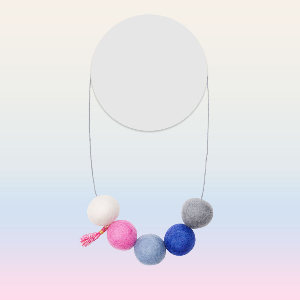 Felt Pompom Necklace (Navy)