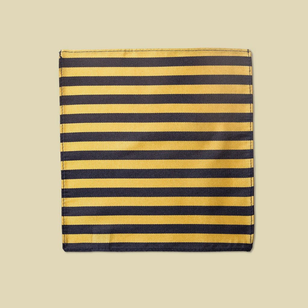 Vandoma Pocket Square Stripe Navy Yellow Flat