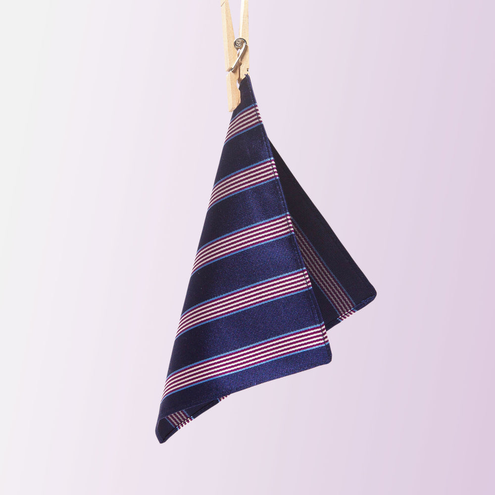 Vandoma Pocket Square Pencil Stripe Navy Purple