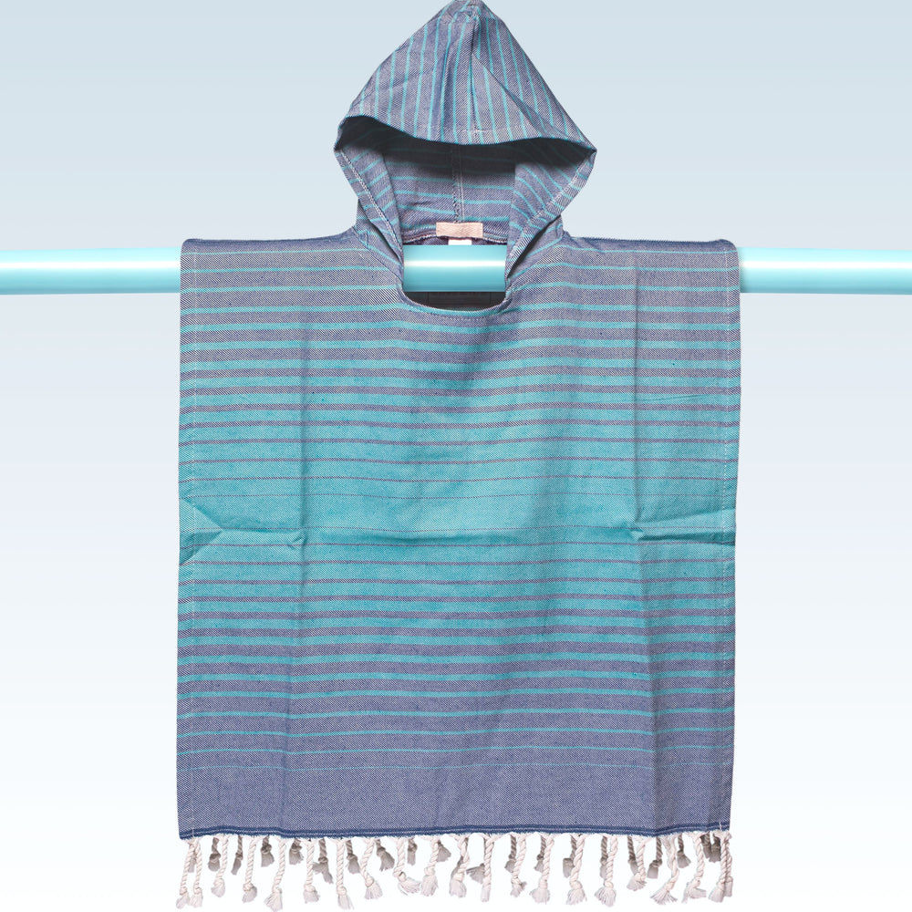 Children's Poncho and Parker Swell Blue and Turquoise