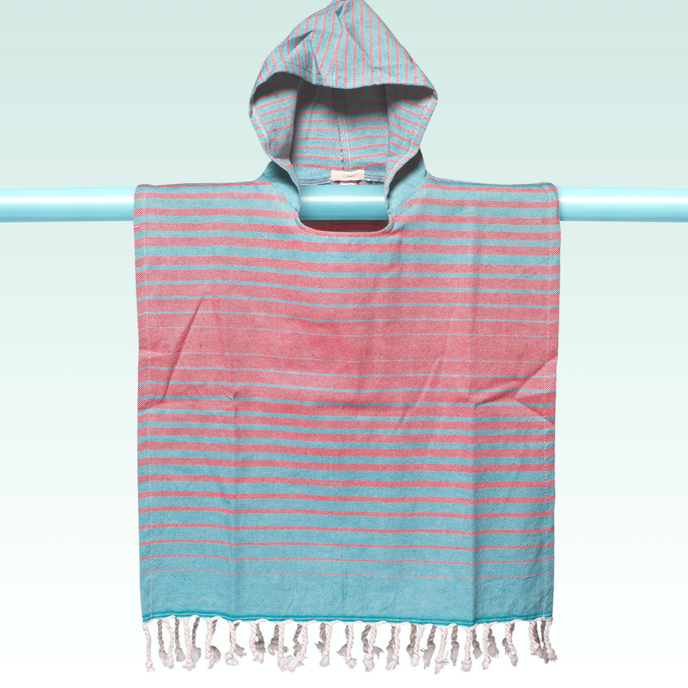 Children's Poncho and Parker Swell Orange and Turquoise