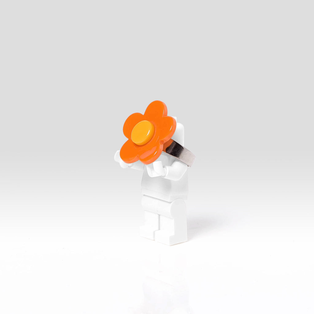 Lilies and Roses Ring for Girls Flower Orange and Yellow Side
