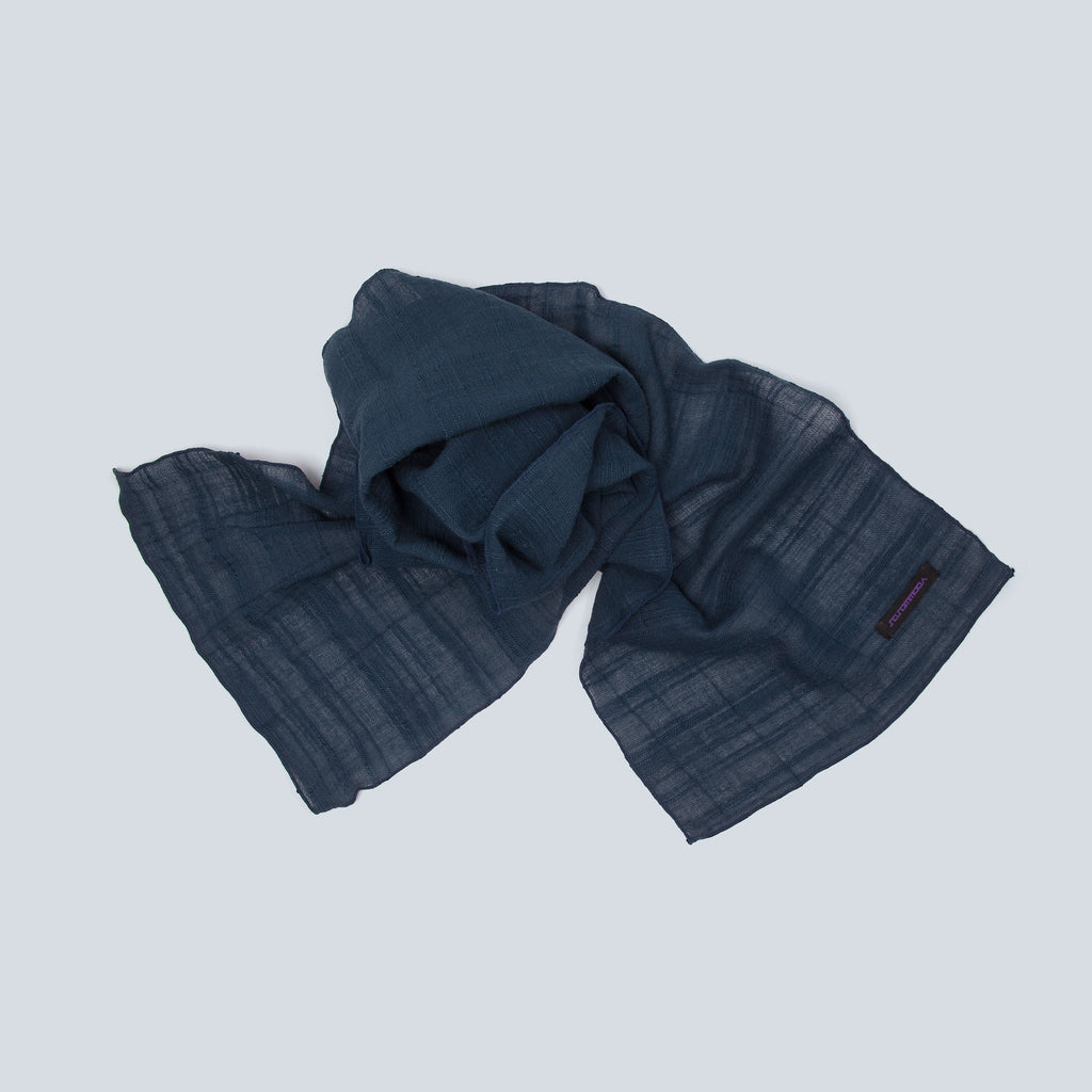 Lux Linen Scarf (Navy) top view