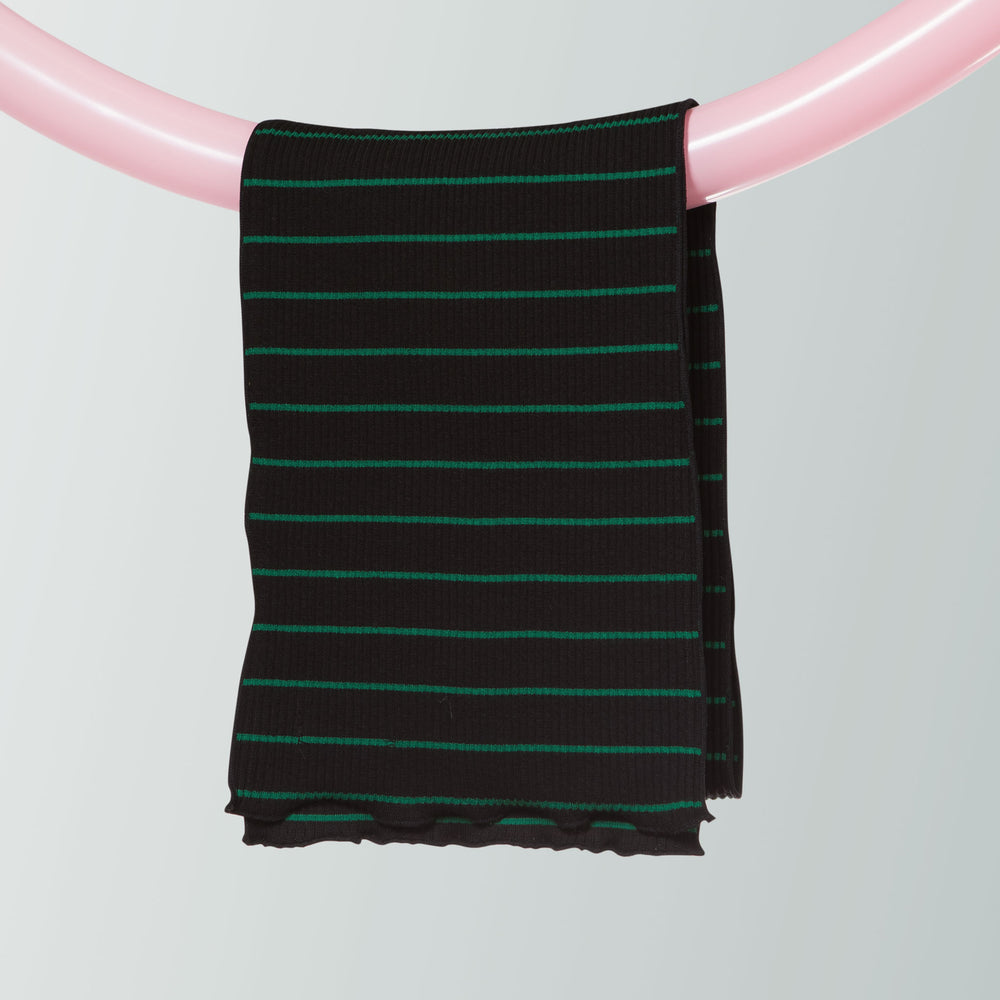 Ribbed Cotton Scarf (Stripe | Black)