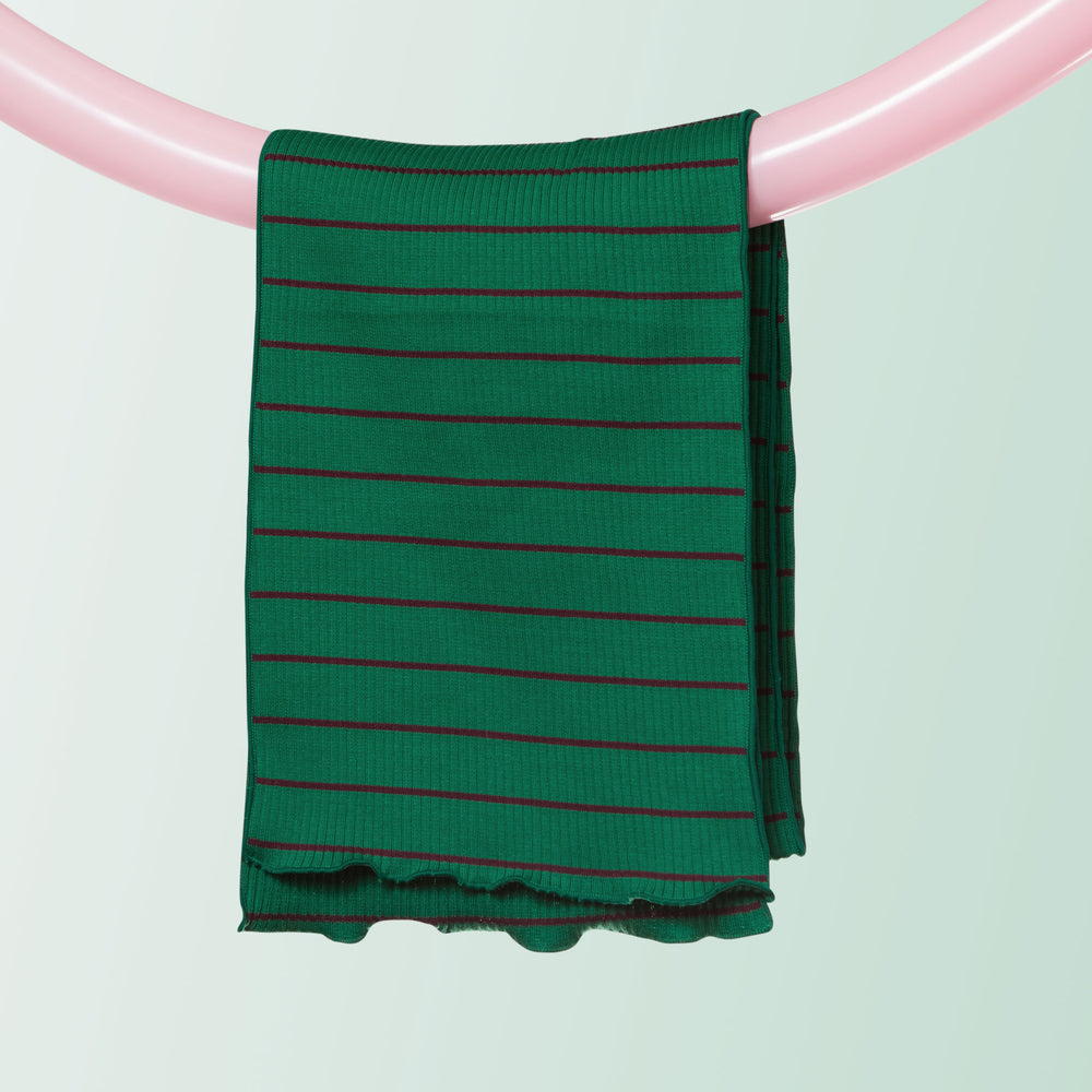 Ribbed Cotton Scarf (Stripe | Green)