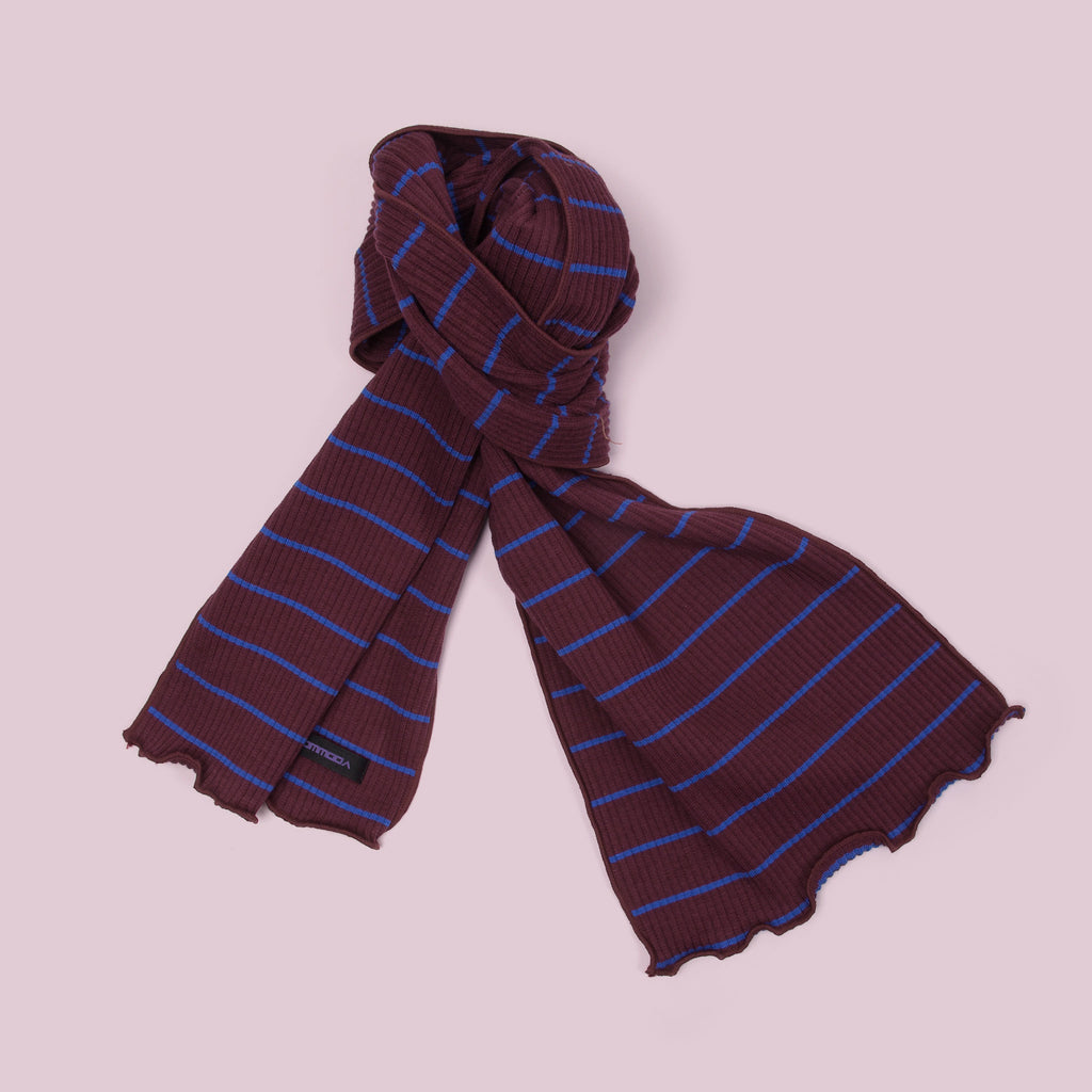 Ribbed Cotton Scarf (Stripe | Wine) top view
