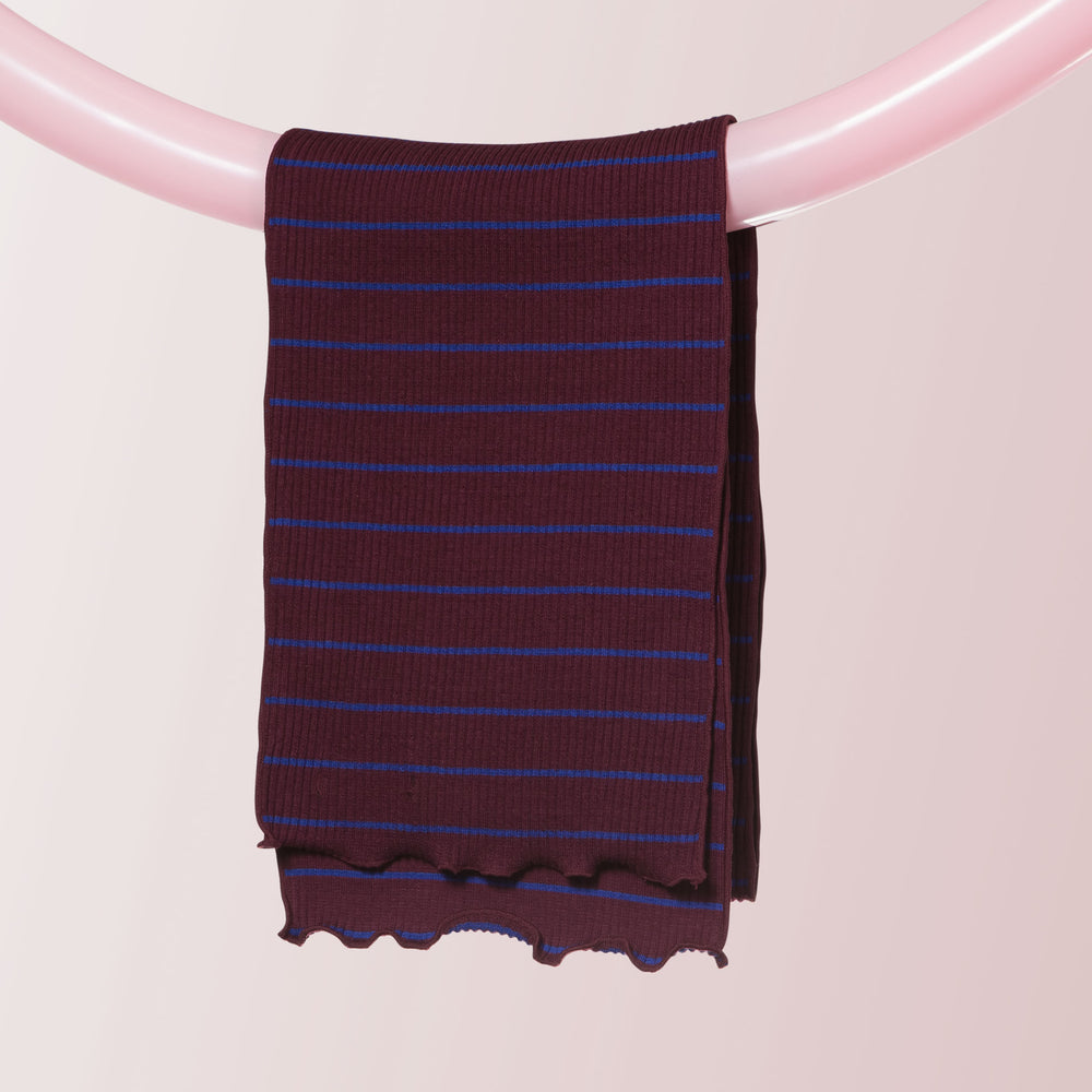 Ribbed Cotton Scarf (Stripe | Wine)
