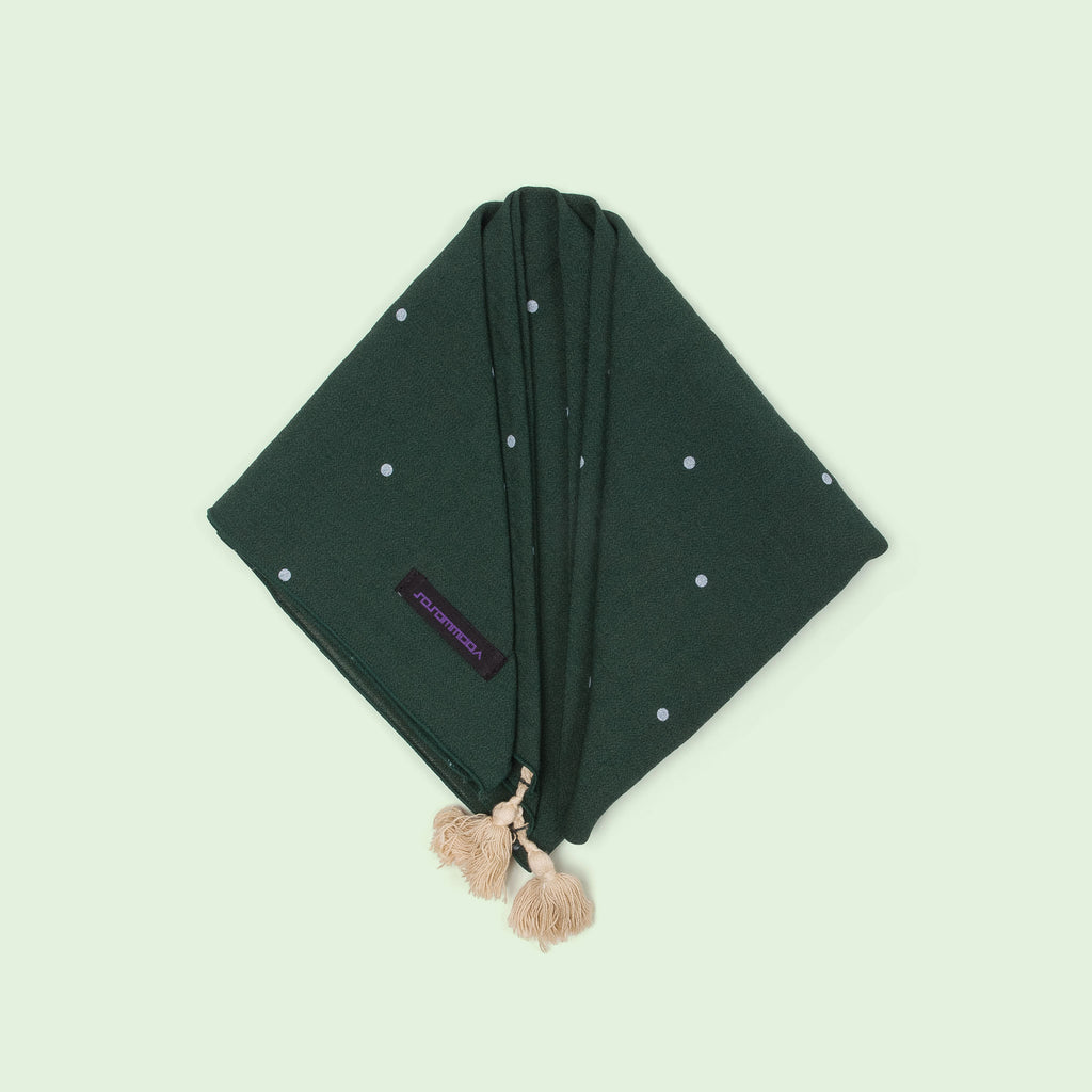 Vogue Dot Square Scarf with Tassels (Forest Green) top view