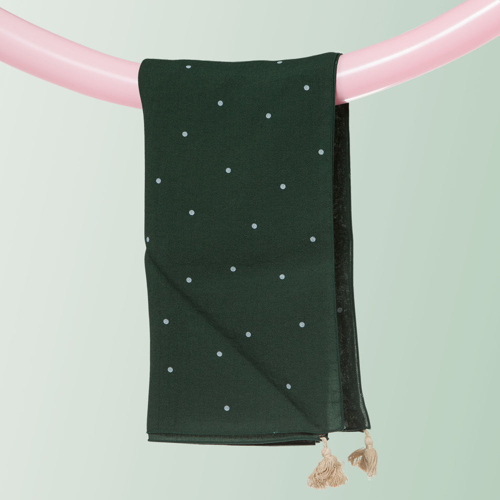 Vogue Dot Square Scarf with Tassels (Forest Green)