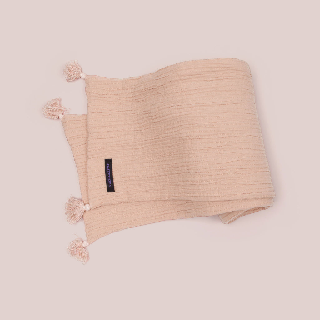 Wraparound Scarf with Tassels (Soft Pink) top view