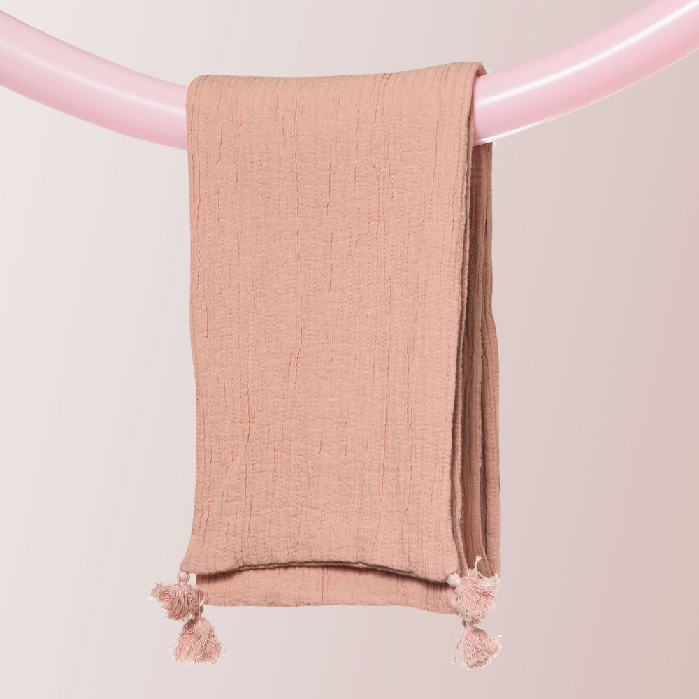 Wraparound Scarf with Tassels (Soft Pink)