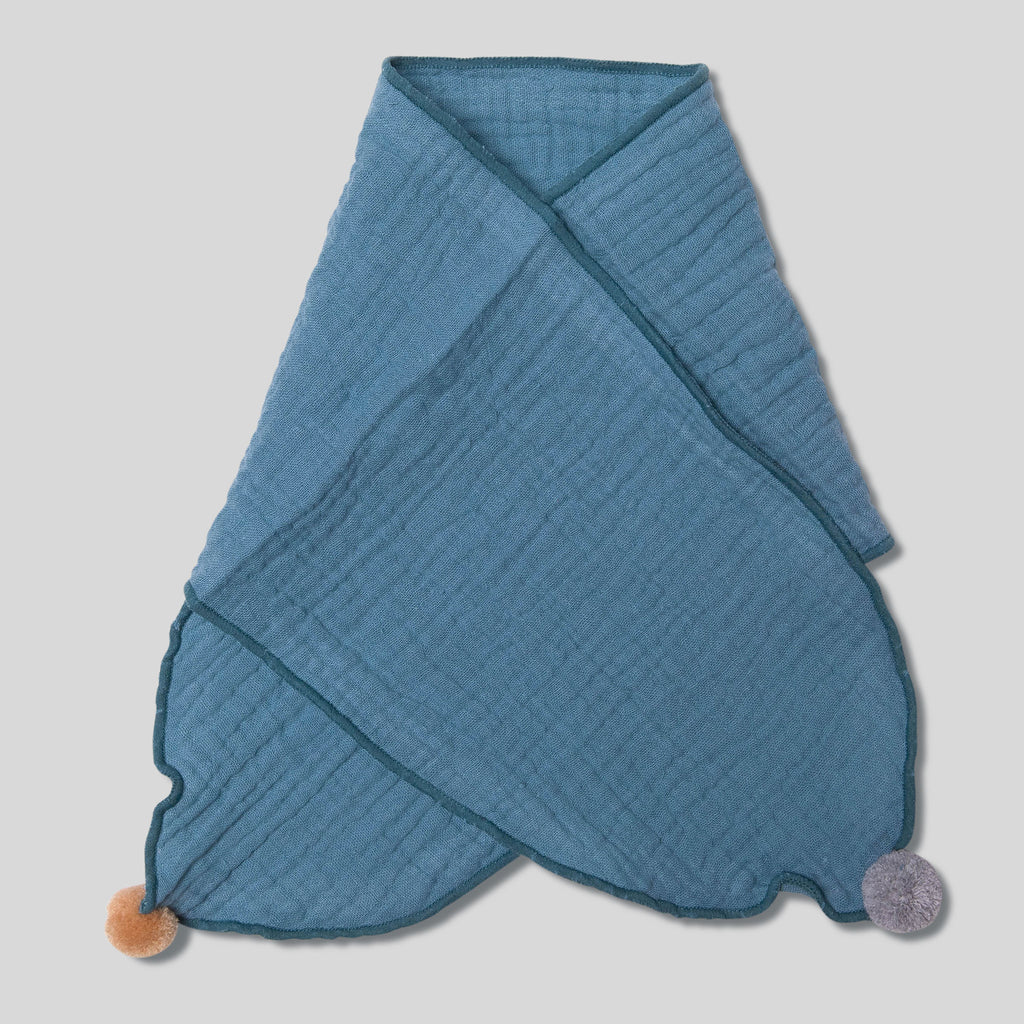 Kids Pom Pom Cotton Scarf Blue Cross