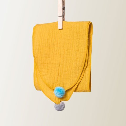 Kids Pom Pom Cotton Scarf Mustard