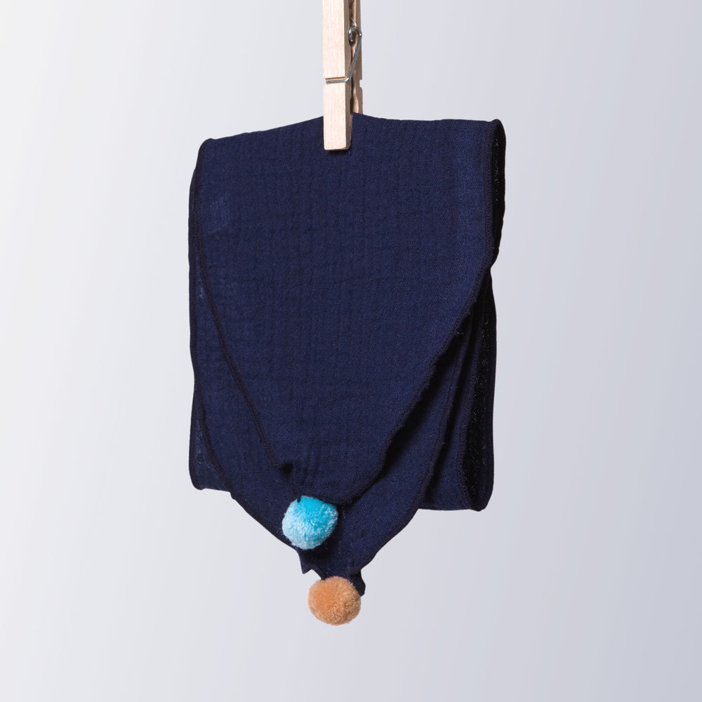 Kids Pom Pom Cotton Scarf Navy