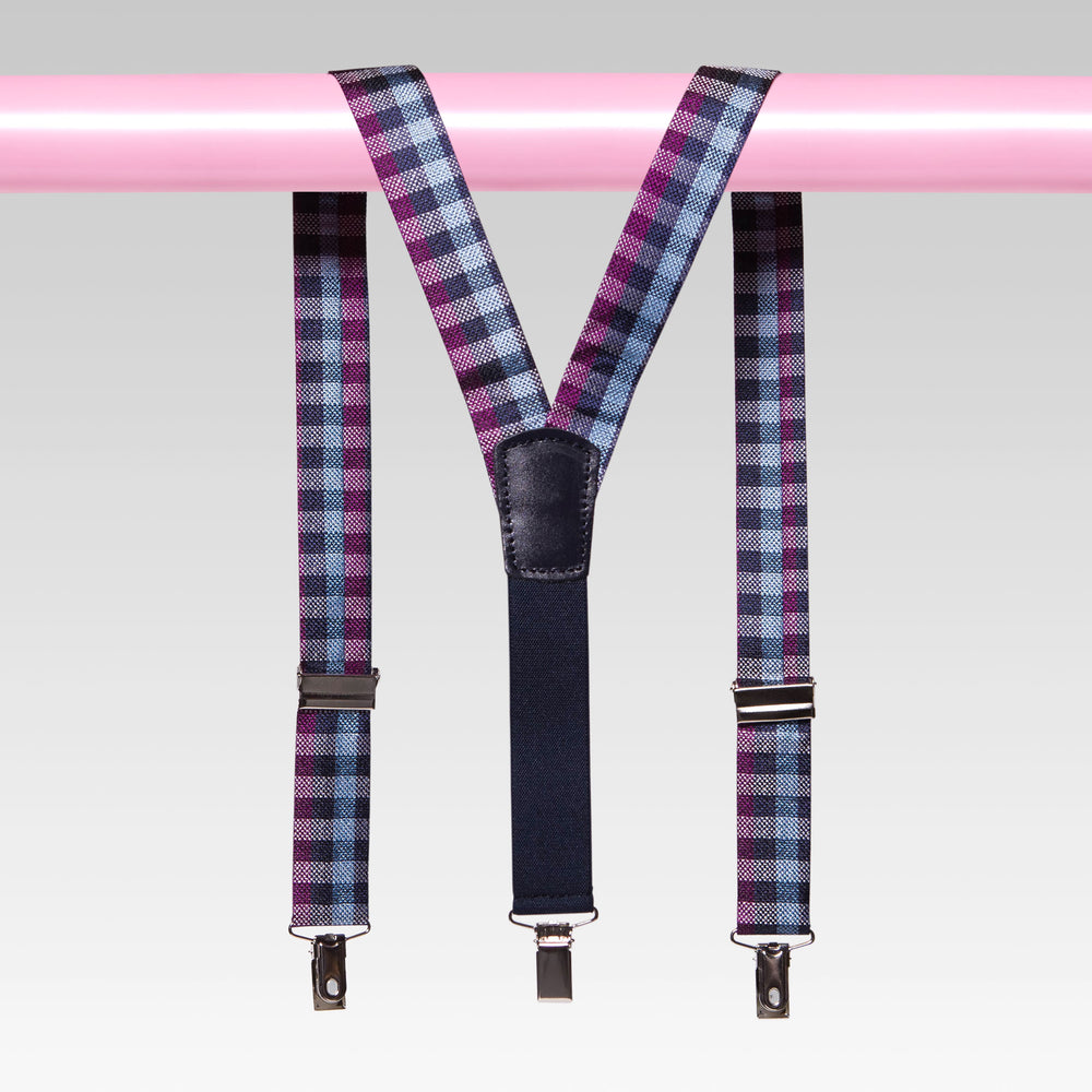 Vadoma SuspenderGingham Plaid Blue and Pink Back