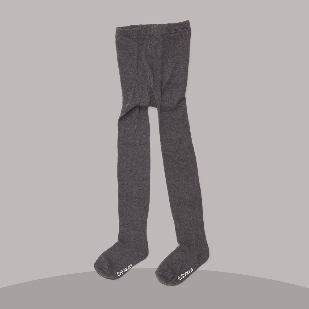 Cotton Ribbed Tights (Charcoal)