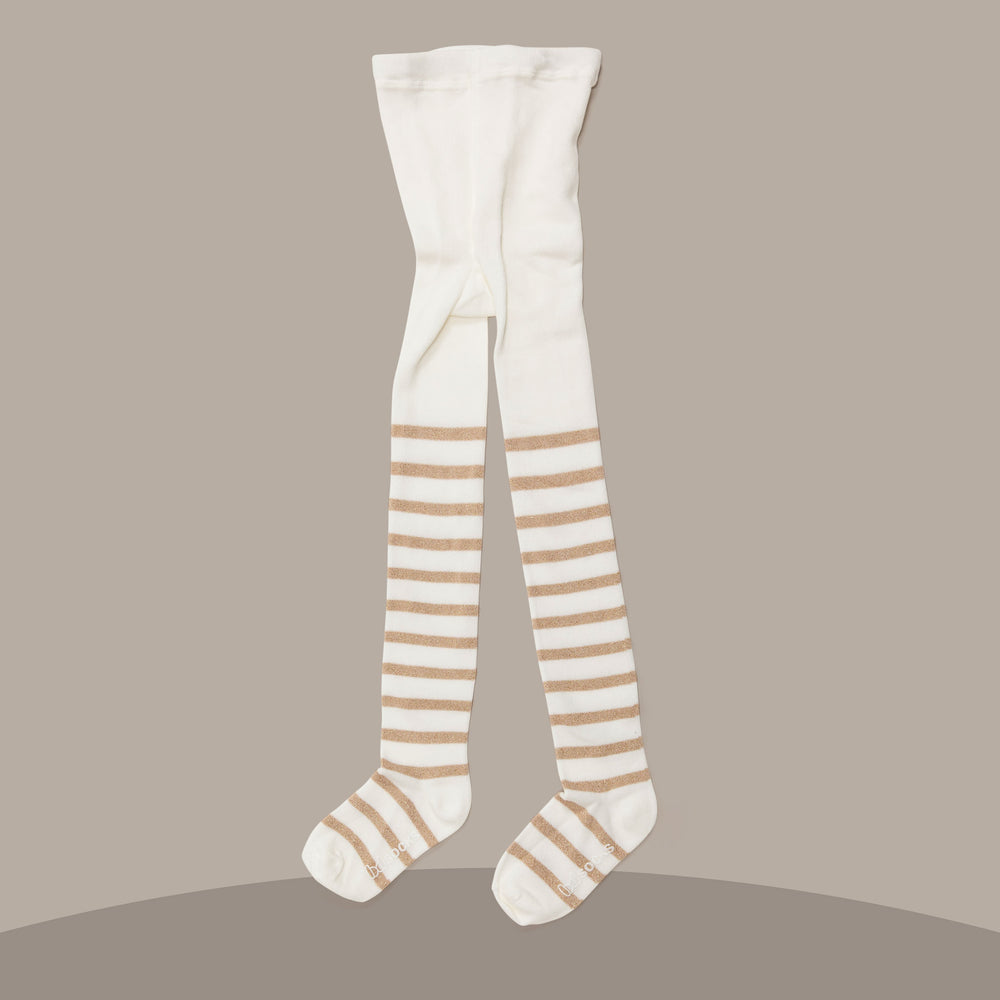 Gold Shimmer Stripe Tights (Ivory)