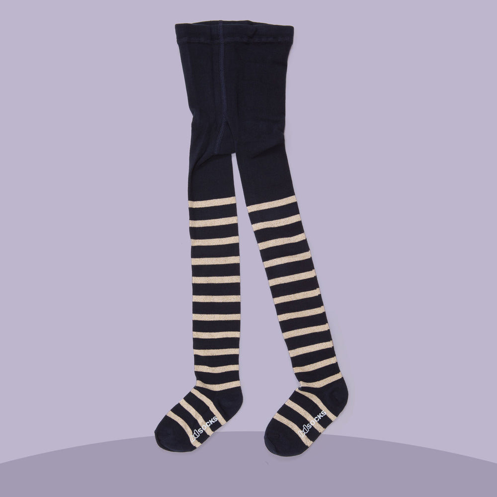 Gold Shimmer Stripe Tights (Navy)