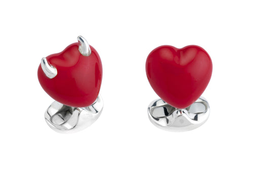 Deakin & Francis Sterling Silver Good & Bad Heart Cufflinks