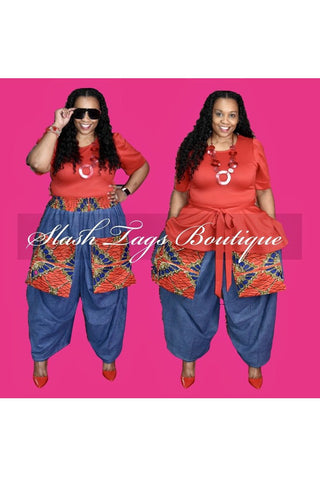 ANKARA PRINT BIG POCKET PRINT DENIM PANTS