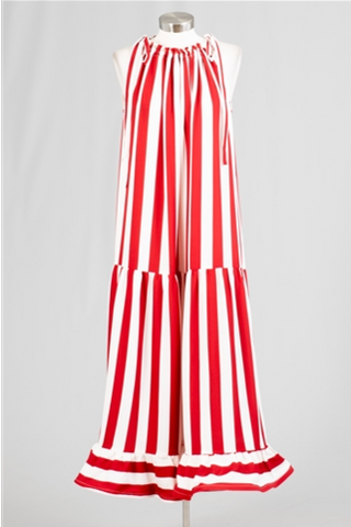 Drop Waist Stripe Print Dress