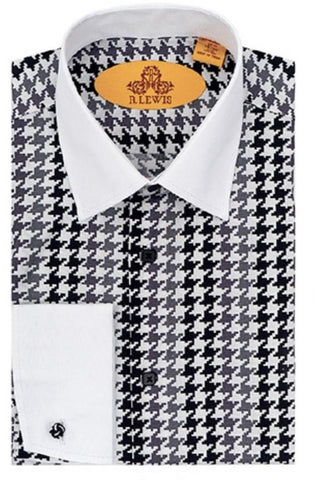 R Lewis White Collar French Cuff Dress Shirt