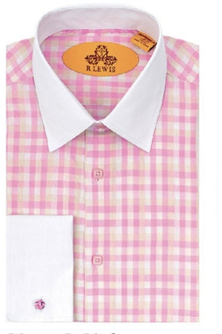 R. Lewis French Cuff White Collar Checkered Shirt