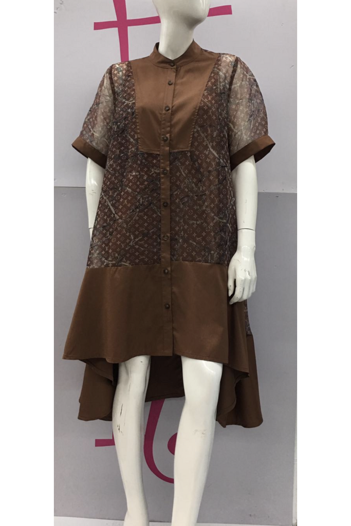 LV Brown Sheer Dress - Slash/Tags Consignment Boutique