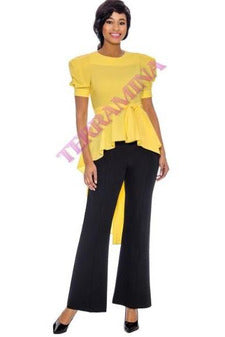 Yellow Hi/Lo Puff-sleeve Top