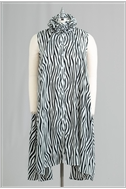 Ruffle Collar Zebra Print Sleevless swing tunic top