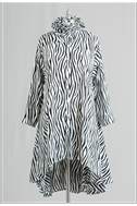 Ruffle Collar Zebra Print 3/4 length sleeves swing tunic top