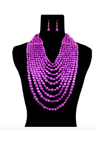 Purple Bead Layered Necklace Set