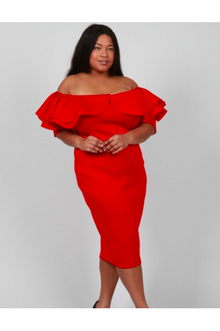 On or off the Shoulder Scuba Dress