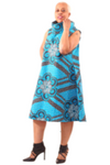 Blue/Black Adinkra Print Collar Dress