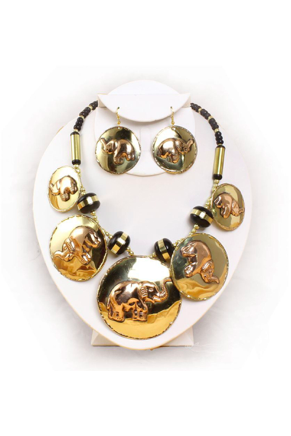 Brass & Copper Elephant Jewelry Set