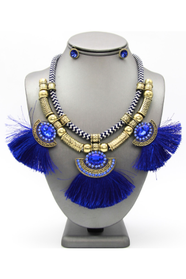 Tassel Cord Bib Necklace Set