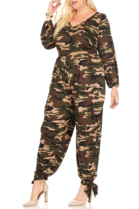 Camouflage Ankle Bow Jumpsuit