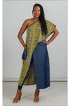 One-shoulder African Print Denim Duster