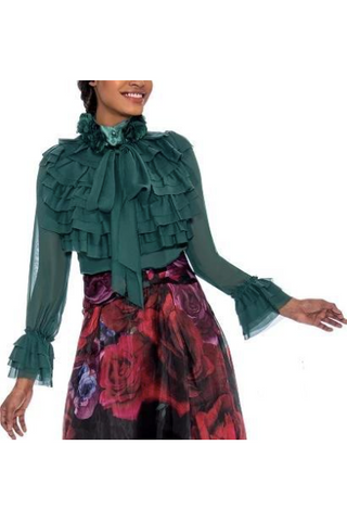 Raquel Ruffle Collar Bow-tie Top