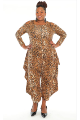 Leopard Cold-Shoulder Zippered Jumpsuit