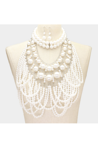 2PCS - Draped Pearl Cluster Statement Necklace