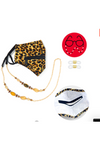 Leopard Print Zipper Fashion Mask / Mask Chain / Glasses Chain Set