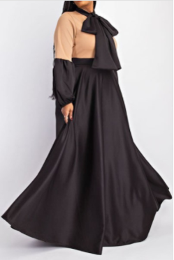 Plus Size Balloon sleeve maxi Bow-tie Dress