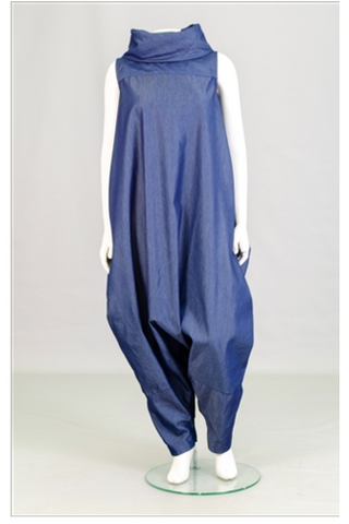 Denim Cowl Neck Zip up Jumpsuit/Dress