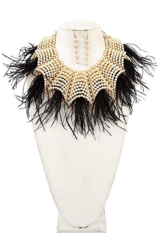Pearl Feather Fringe Statement Necklace Set