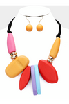 CHUNKY ABSTRACT COLORFUL WOOD STATEMENT NECKLACE SET