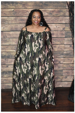 Camo Coldshoulder Dress