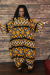African Print Cowl Neck Zip up Jumpsuit 3/4 Sleeve